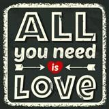 Retro tabula All You Need is Love 30 x 30 cm -  POSLEDNÉ KUSY
