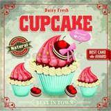 Retro tabule Cupcake 30 x 30 cm