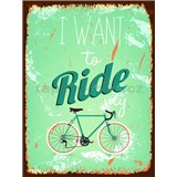 Retro tabule Ride My Bicycle 40 x 30 cm