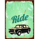 Retro tabule Ride My Car 40 x 30 cm