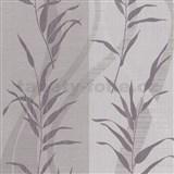 Tapety Sinfonia bambusové listy fialové na hnedo-sivom podklade