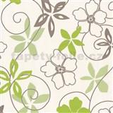 Tapety vliesové SommerAktion - lúčne kvety - zeleno-hnedé