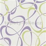 Tapety na stenu Timeless - elipsy fialové-zelené