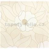 Vinylové tapety na stenu Wohn Sinn - kvety biele s béžovými kontúrami