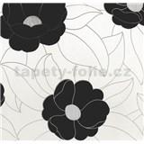 Vinylové tapety na stenu WohnSinn - kvety čierne so striebornými kontúrami
