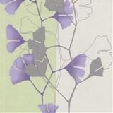 Vliesové tapety na stenu 4ever - listy Ginkgo fialovo-zelené