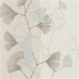 Vliesové tapety na stenu 4ever - listy Ginkgo svetle hnedo-strieborné