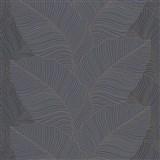 Vliesové tapety na stenu Bali listy sivo-modré so zlatými kontúrami