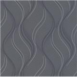 Vliesové tapety na stenu Bali vlnovky sivé, čierne, strieborné