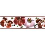 Samolepiaca bordúra kvety orchidey červené 5 m x 8,3 cm