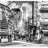 Luxusné vliesové fototapety Yokohama - čiernobiele, rozmer 279 x 270cm