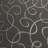 Vliesové tapety na stenu Collection 2 strieborné vlnky s čiernými konturami na čiernom podklade