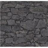 Vliesové tapety na stenu Einfach Schoner 3 kameň skladaný sivo-čierny