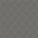 Vliesové tapety New Spirit škandinávsky vzor, tmavo sivý s bronzovými odleskami a trblietkami
