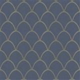 Vliesové tapety New Spirit škandinávsky vzor, modrý deep blue s niklovými metalickými odleskami