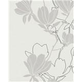 Vliesové tapety na stenu Summer Time kvety sivo-strieborné