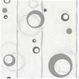 Vliesové tapety na stenu Collection 2 kolieska sivé