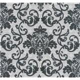 Vliesová tapeta na stenu Florence zámocký vzor čierny na strieborno-bielom podklade