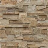 Vliesové tapety na stenu Roll in Stones kamenný obklad hnedo-béžový