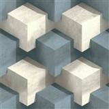 Vliesové tapety na stenu PRISME 3D štvorce bielo-modré