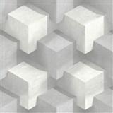 Vliesové tapety na stenu PRISME 3D štvorce bielo-sivé