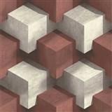 Vliesové tapety na stenu PRISME 3D štvorce bielo-červené