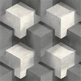 Vliesové tapety na stenu PRISME 3D štvorce bielo-čierne