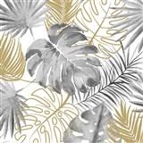 Vliesové tapety na stenu IMPOL Escapade listy palmy a monstery sivo-zlaté