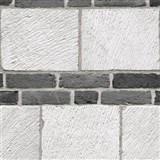 Vliesové tapety na stenu tehly sivo - čierne
