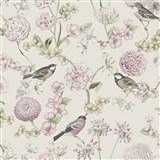 Vliesové tapety na stenu IMPOL Escapade florálny vzor s vtákmi na bielem podklade