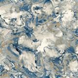 Vliesové tapety na stenu IMPOL Reflets mramor modro-biely so zlatými odleskami