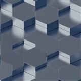 Vliesové tapety na stenu IMPOL Galactik 3D hexagony kovovo modré