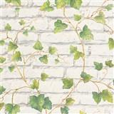 Vliesové tapety IMPOL Wood and Stone 2 tehlová stena biela s popínavým brečtanom