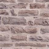 Vliesové tapety IMPOL Wood and Stone 2 ukladaný kameň hnedý