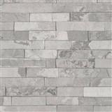 Vliesové tapety IMPOL Wood and Stone 2 obkladový kameň štiepaná bridlica svetlo sivá - POSLEDNÉ KUSY
