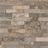 Vliesové tapety IMPOL Wood and Stone 2 obkladový kameň štiepaná bridlica hnedá