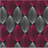Vinylové tapety na stenu Adelaide retro vzor bielo-ružový na čiernom podklade