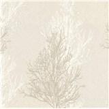 Vinylové tapety na stenu Adelaide stromčeky bielo-hnedé na krémovom podklade