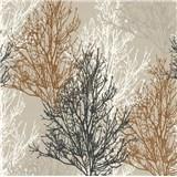 Vinylové tapety na stenu Adelaide stromčeky hnedé, čierne, biele na krémovom podklade