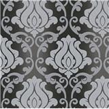 Vinylové tapety na stenu Adelaide ornamenty sivé na čiernom podklade