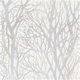 Vliesové tapety na stenu vetvy stromov perleťové na bielom podklade
