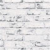 Vliesové tapety na stenu Wood'n Stone tehla bielo-sivá