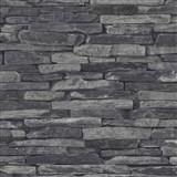 Vliesové tapety na stenu Wood'n Stone kameň skladaný sivý