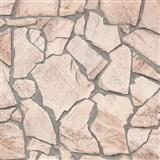 Vliesové tapety na stenu Wood'n Stone štiepaný kameň svetlo hnedý