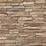 Vliesové tapety na stenu Wood'n Stone kameň stredne hnedý