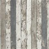 Vliesové tapety na stenu Wood'n Stone drevené laty hnedé, sivé, biele
