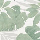 Vliesové tapety na stenu Avalon listy s kvetmi zelené na bielom podklade