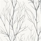 Vliesové tapety na stenu Blooming florálny vzor čierny na bielom podklade