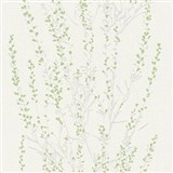 Vliesové tapety na stenu Blooming vetvičky strieborné so zelenými lístkami