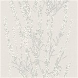 Vliesové tapety na stenu Blooming vetvičky strieborné s bielymi lístkami